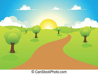 paysage, printemps, dessin animé, été, ou