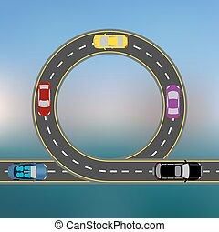 paysage., résumé, illustration, côte, voiture., voyager, route, long, autoroute, transport