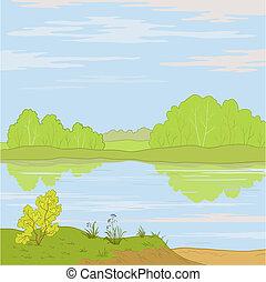 paysage., rivière, forêt