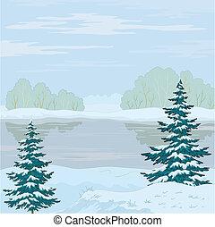 paysage., rivière, hiver, forêt