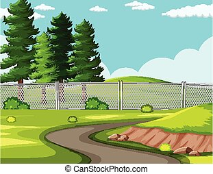 paysage, route, parc, fond, vide