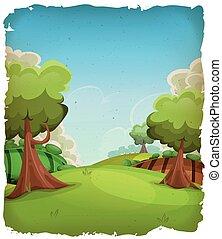 paysage rural, dessin animé, fond