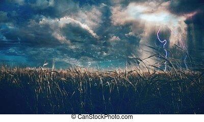 paysage rural, orage