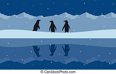 paysage, silhouette, beauté, neige, colline, manchots