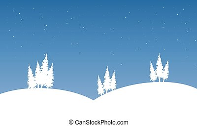 paysage, silhouette, colline hiver