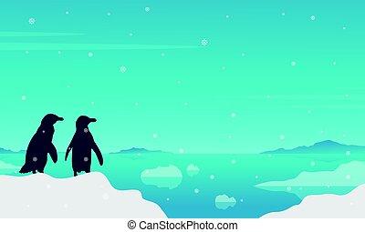 paysage, silhouette, lac, glace, manchots