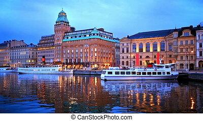 paysage, stockholm, soir, suédois