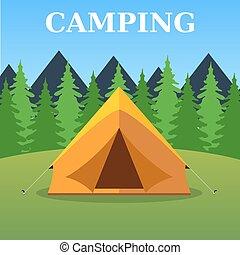 paysage, tente, touriste, camping, forêt