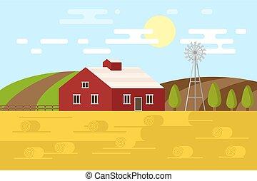 paysage., vecteur, rural, illustration, farm.