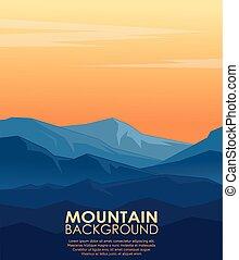 paysage, vecteur, silhouettes, bleu, montagnes.
