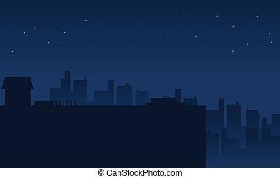 paysage, ville, silhouette