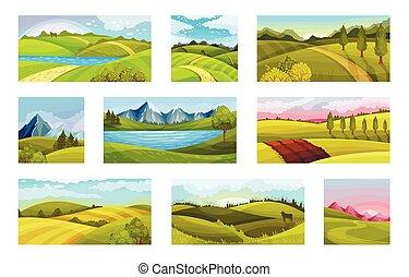 paysages, ensemble, ciel, collines, vert, clair, vecteur, illustration