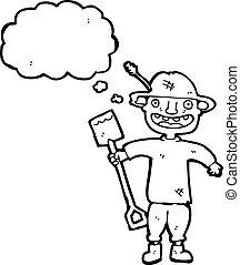paysan, dessin animé, bêche