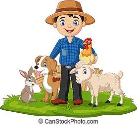 paysan, herbe, animaux, ferme