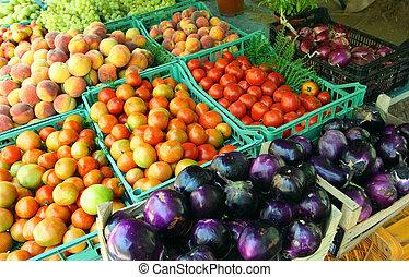 paysan, méditerranéen, marché