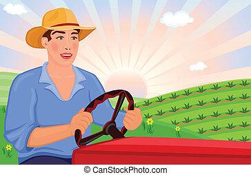 paysan, tracteur, conduite