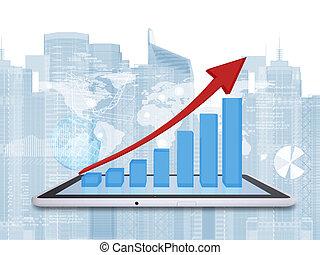 pc, écran, diagramme croissance, tablette