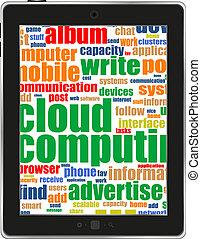 pc, écran, mot, tablette, social