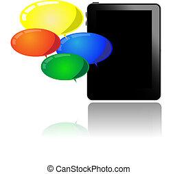 pc, ballons, tablette, coloré