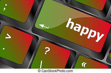 pc, clã©, ordinateur clavier, heureux, mot