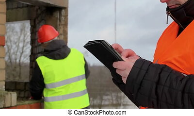 pc, construction, contremaître, tablette