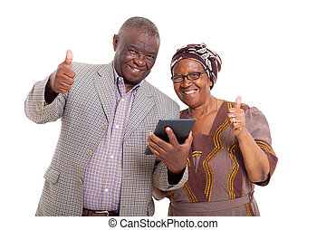 pc, couple, personne agee, tablette, africaine