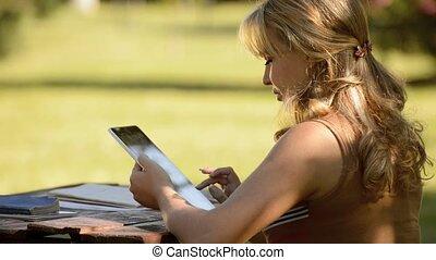 pc, femme, jeune, tablette, numérique