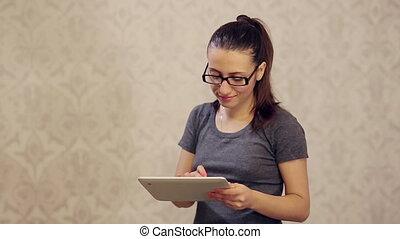 pc, femme, tablette, fonctionnement, lunettes