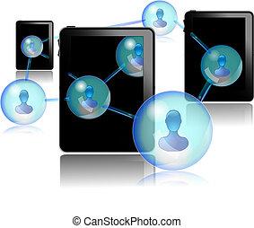 pc, gens, tablette, communiquer
