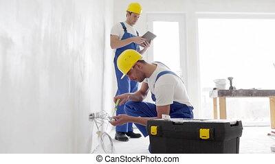 pc, intérieur, constructeurs, tablette, équipement