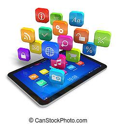 pc, nuage, application, icônes, tablette