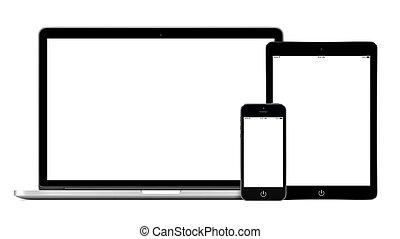 pc, ordinateur portable, smartphone, tablette, mockup