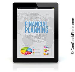pc, planification, financier, tablette