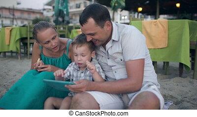 pc, recours, famille, tablette, trois