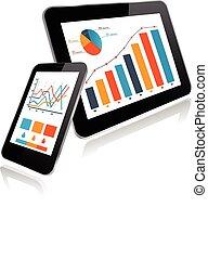 pc, smartphone, diagramme, tablette, statistiques
