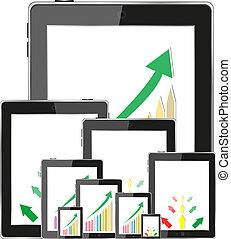 pc, tableau bord, business, tablette, graphiques