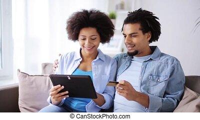 pc tablette, couple, crédit, maison, carte