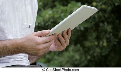pc., toucher, moderne, homme, numérique, écran, tablette