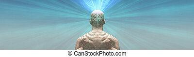 peau, homme, radiates, lumière, texte, sien