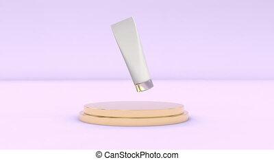 peau, meute, capable, seamless, podium, cosmétique, dos, boucle, plastique, rose, métallique, blanc, mockup, soin, tube
