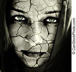 peau, toqué, visage femme