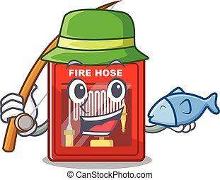 peche, brûler, dessin animé, forme, cabinet, tuyau