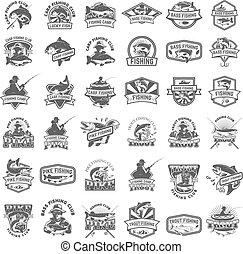 peche, grand, basse, peche, fish, ensemble, carpe, truite, icons.