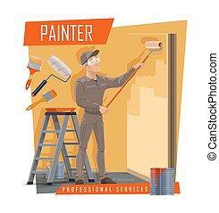 peignant outils, travail foyer, peintre, service