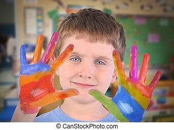 peint, école, mains, art, enfant