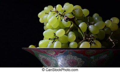 peint, bol, blanc, vieux, raisins
