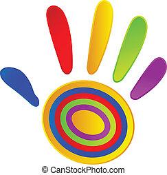 peint, couleurs, vif, main