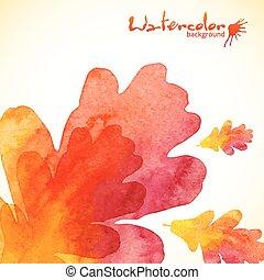 peint, feuilles, chêne, aquarelle, fond, orange