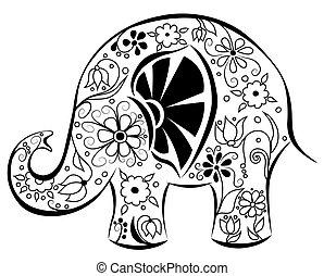 peint, flowers., silhouette, éléphant