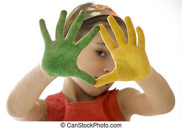 peint, mains